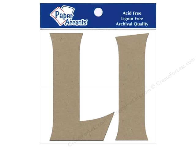 "Paper Accents Chip Shape Letters 4"" Ll 2pc Natural"