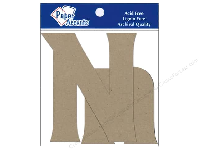 "Paper Accents Chipboard Shape Letters ""Nn"" 4 in. 2 pc. Kraft"