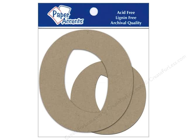 "Paper Accents Chipboard Shape Letters ""Oo"" 4 in. 2 pc. Kraft"