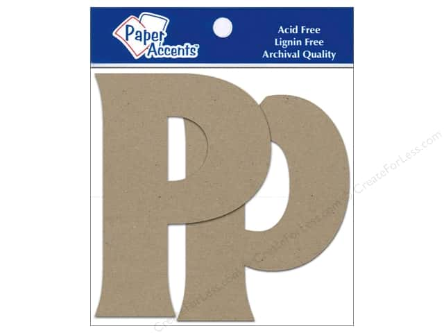 Paper Accents Chipboard Shape Letters Pp 4 in. 2 pc. Kraft