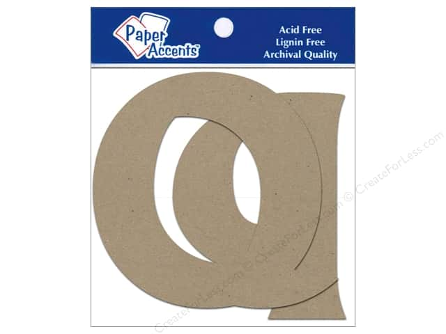 "Paper Accents Chipboard Shape Letters ""Qq"" 4 in. 2 pc. Kraft"