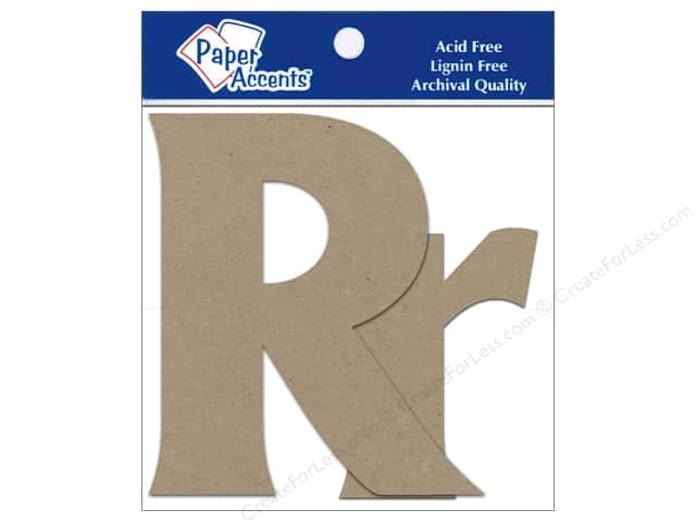 "Paper Accents Chip Shape Letters 4"" Rr 2pc Natural"