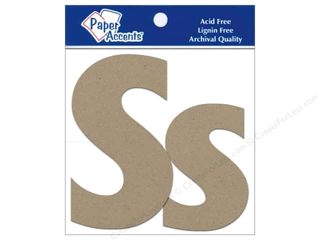 "Paper Accents Chipboard Shape Letters ""Ss"" 4 in. 2 pc. Kraft"
