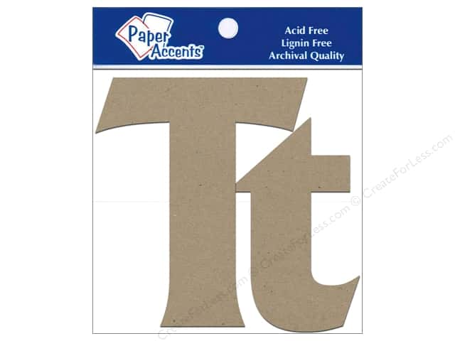 "Paper Accents Chipboard Shape Letters ""Tt"" 4 in. 2 pc. Kraft"