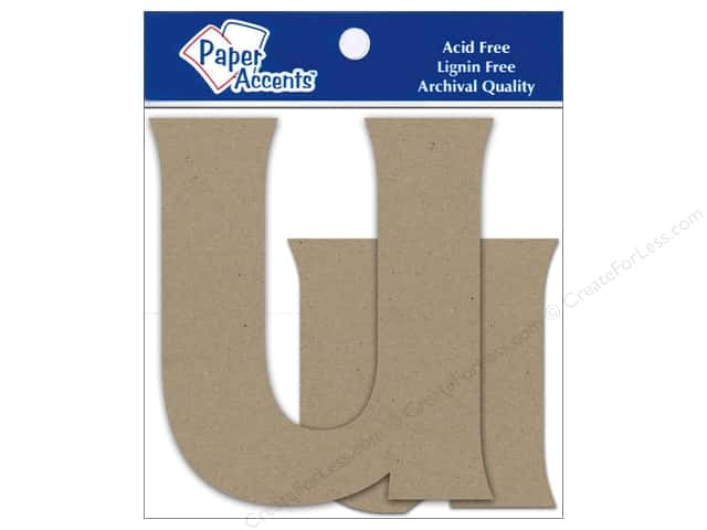 Paper Accents Chipboard Shape Letters Uu 4 in. 2 pc. Kraft