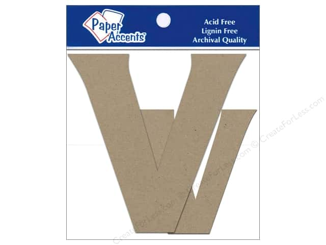 Paper Accents Chipboard Shape Letters Vv 4 in. 2 pc. Kraft