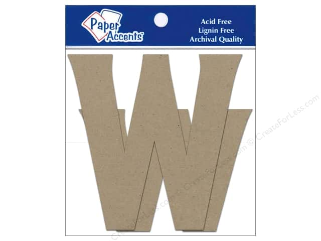 Paper Accents Chipboard Shape Letters Ww 4 in. 2 pc. Kraft