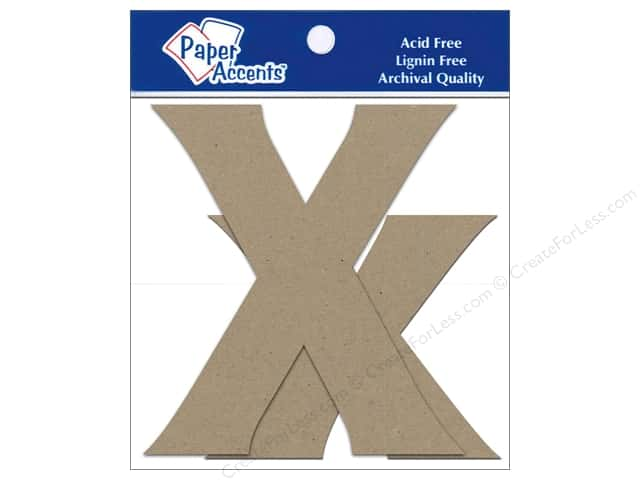 Paper Accents Chipboard Shape Letters Xx 4 in. 2 pc. Kraft