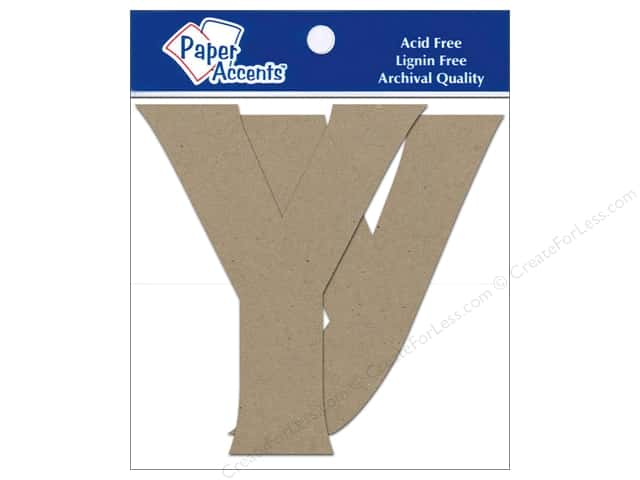 "Paper Accents Chipboard Shape Letters ""Yy"" 4 in. 2 pc. Kraft"