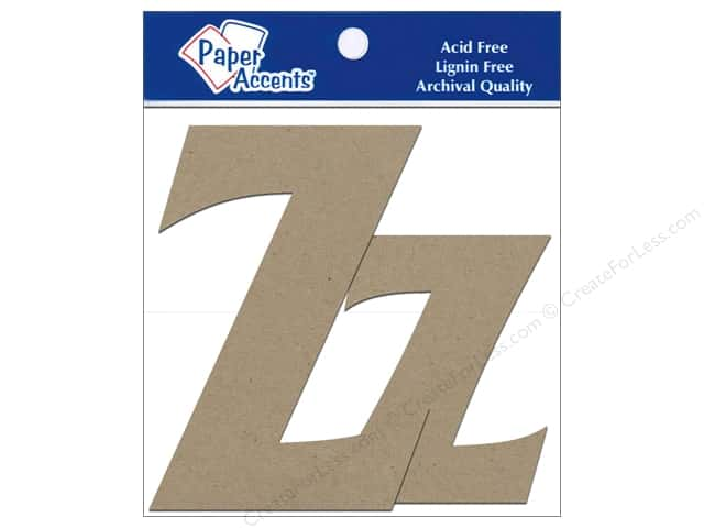 "Paper Accents Chipboard Shape Letters ""Zz"" 4 in. 2 pc. Kraft"