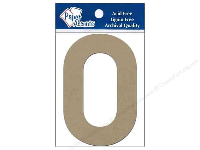 "Paper Accents Chipboard Shape Numbers ""0"" 4 in. 2 pc Kraft"