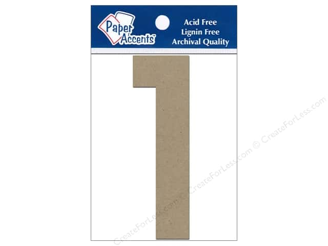 "Paper Accents Chipboard Shape Numbers ""1"" 4 in. 2 pc Kraft"