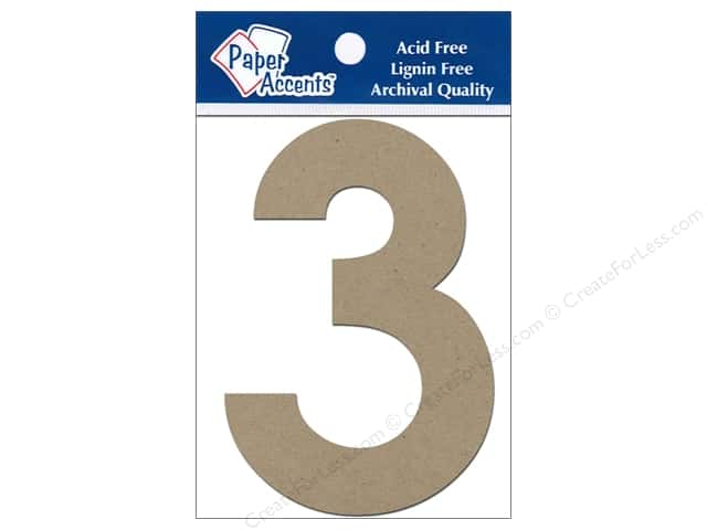 "Paper Accents Chip Shape Numbers 4"" 3 2pc Natural"