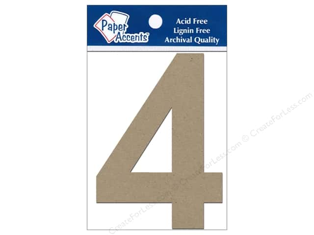 "Paper Accents Chip Shape Numbers 4"" 4 2pc Natural"