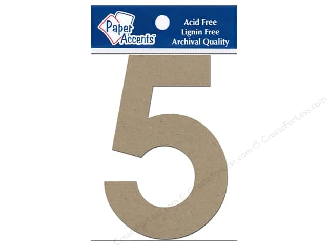 "Paper Accents Chipboard Shape Numbers ""5"" 4 in. 2 pc Kraft"
