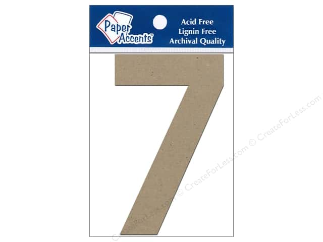 "Paper Accents Chipboard Shape Numbers ""7"" 4 in. 2 pc Kraft"