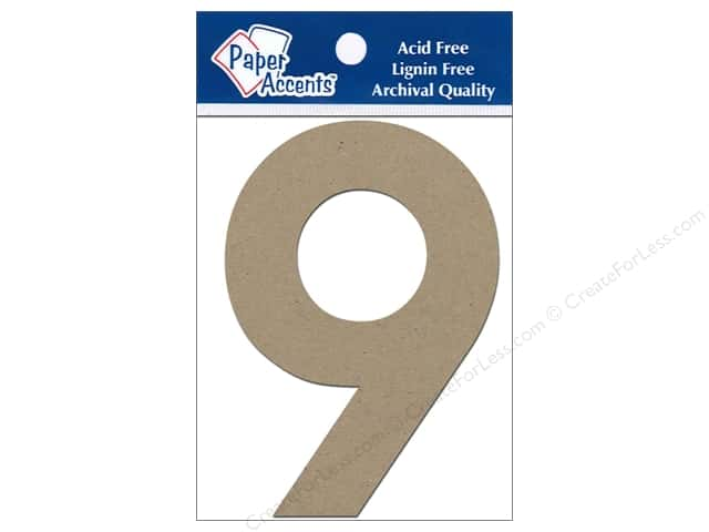 "Paper Accents Chipboard Shape Numbers ""9"" 4 in. 2 pc Kraft"