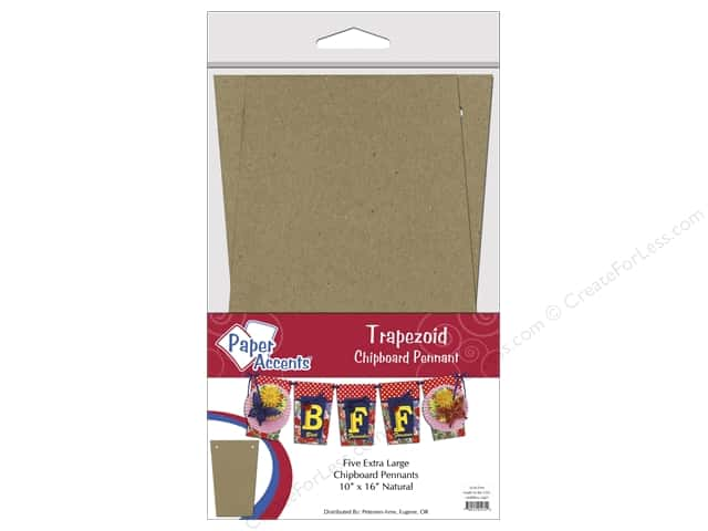 Paper Accents Chipboard Pennants 10 x 16 in. Trapezoid  5 pc. Kraft
