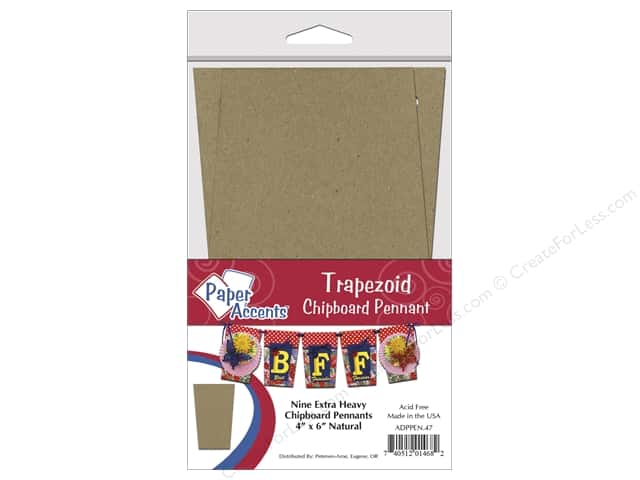 Paper Accents Chipboard Pennants 4 x 6 in. Trapezoid  9 pc. Kraft