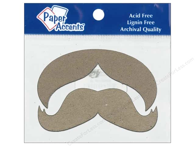 Paper Accents Chipboard Shape Mustache 8 pc. Kraft