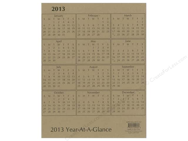 Paper Accents Calendar 8.5x11 Brown Bag 2013 (25 pieces)