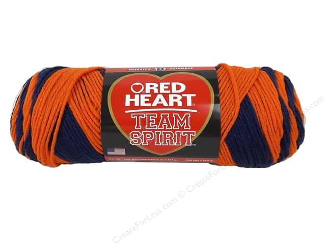 Red Heart Team Spirit Yarn #0960 Orange/Navy 244 yd.