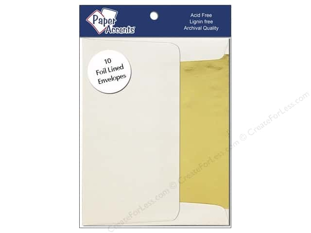 4 1/4 x 5 1/2 in. Envelopes by Paper Accents 10pc. #119 Gold Lined Cream