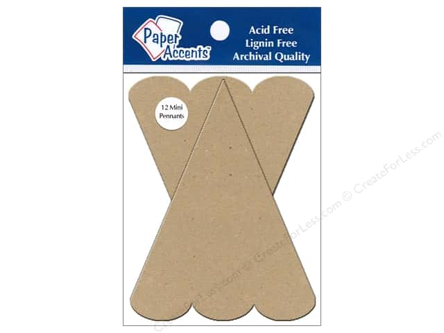 Paper Accents Chipboard Pennants 2 1/2 x 4 in. Mini Scallop Top 12pc. Kraft