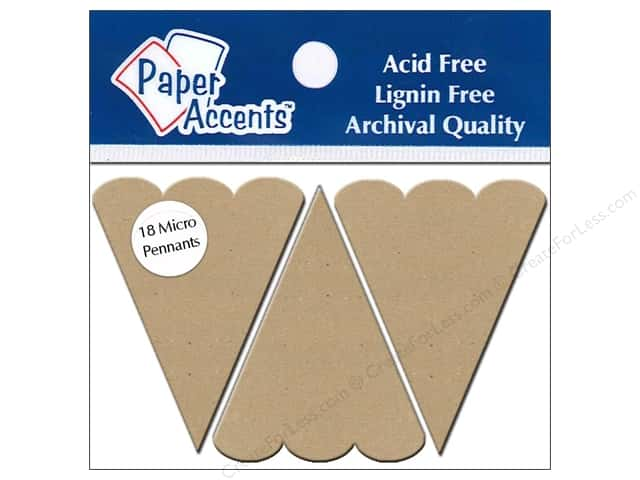 Paper Accents Chipboard Pennants 1 1/4 x 2 in. Micro Scallop Top 18 pc. Kraft