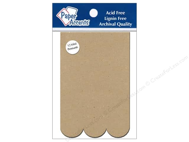 Paper Accents Chipboard Pennants 2 1/2 x 4 in. Mini Scallop Rectangle 12 pc. Kraft