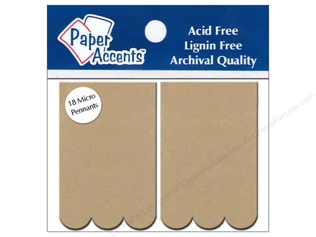 "Paper Accents Chipboard Pennants Rectangle Scallop 1.25""x 2"" Micro Natural 18pc"