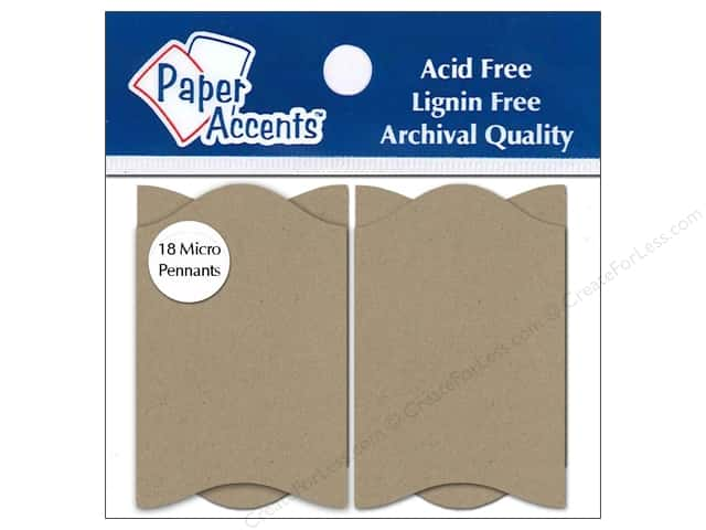 Paper Accents Chipboard Pennants 1 1/4 x 2 in. Micro Concertina18 pc. Kraft