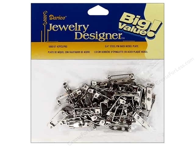 "Darice Jewelry Designer Pin Back .75"" Nickel Plate Steel 42pc"