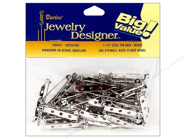 "Darice Jewelry Designer Pin Back 1.25"" Nickel Plate Steel 40pc"