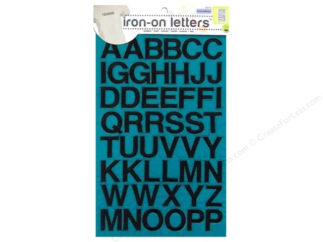 Dritz Iron On Letters Embroidered Block Black