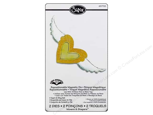 Sizzix Movers & Shapers Magnetic Die Set 2PK Heart & Wing by Karen Burniston