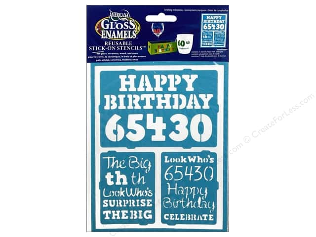 "DecoArt Stencil Americana Glass 6""x 8"" Birthday Milestone"