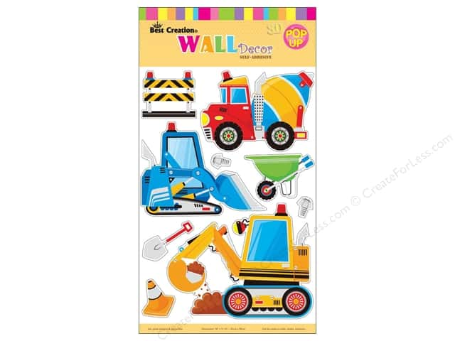 "Best Creation Wall Decor Sticker 16"" 3D Construction"
