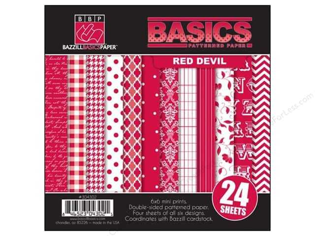 "Bazzill Multi Pack 6""x 6"" 24pc Basics Red Devil"