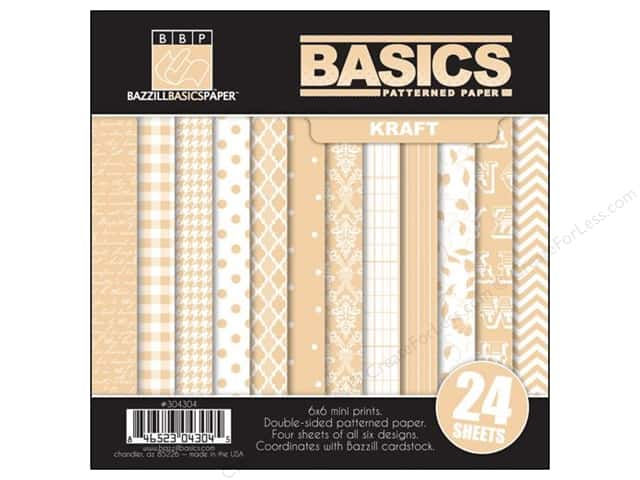 "Bazzill Multi Pack 6""x 6"" 24pc Basics Kraft"