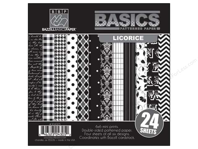 "Bazzill Multi Pack 6""x 6"" 24pc Basics Licorice"