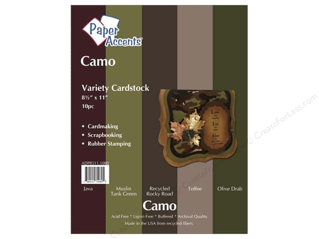 Cardstock Variety Pack 8 1/2 x 11 in. Camo 10 pc. by Paper Accents