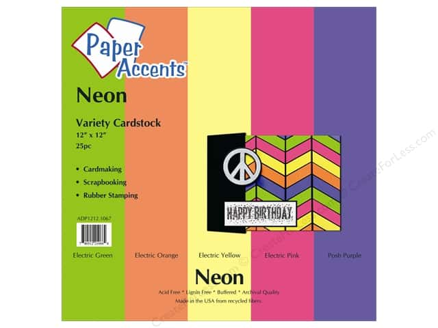 Cardstock Variety Pack 12 x 12 in. Neon 25 pc. by Paper Accents