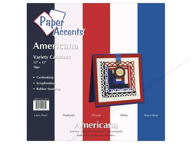 Cardstock Variety Pack 12 x 12 in. Americana 10 pc. by Paper Accents