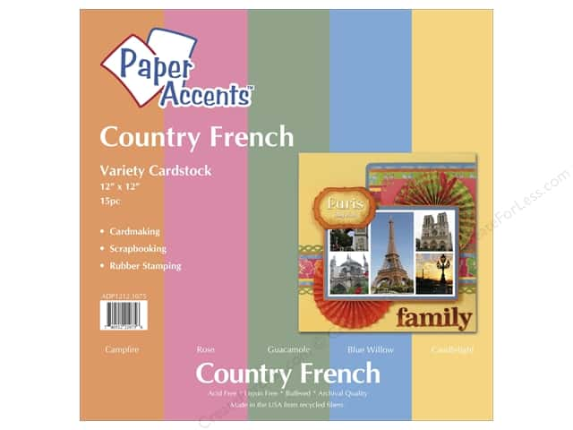 Cardstock Variety Pack 12 x 12 in. Country French 15 pc. by Paper Accents