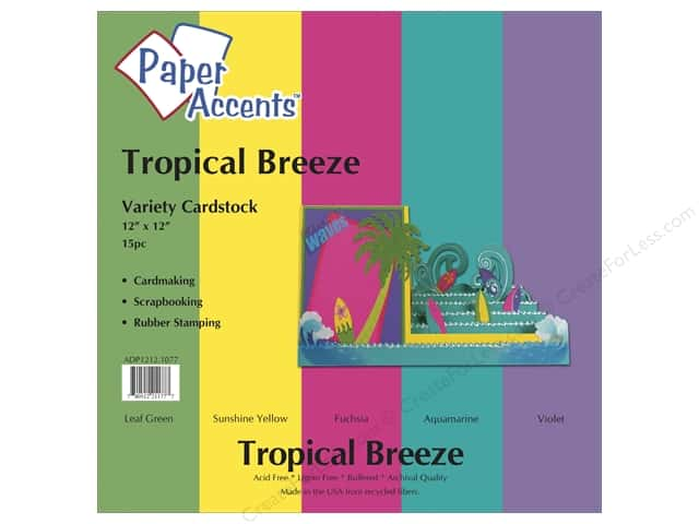 Cardstock Variety Pack 12 x 12 in. Tropical Breeze 15 pc. by Paper Accents