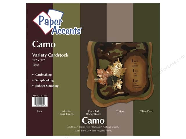 Cardstock Variety Pack 12 x 12 in. Camo 10 pc. by Paper Accents