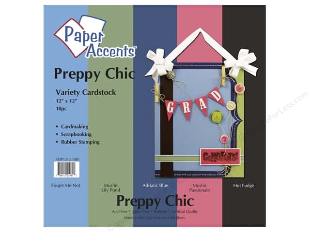Cardstock Variety Pack 12 x 12 in. Preppy Chic 10 pc. by Paper Accents