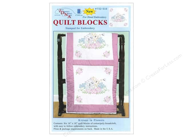 "Jack Dempsey Quilt Block 18"" 6pc White Kittens In Flowers"