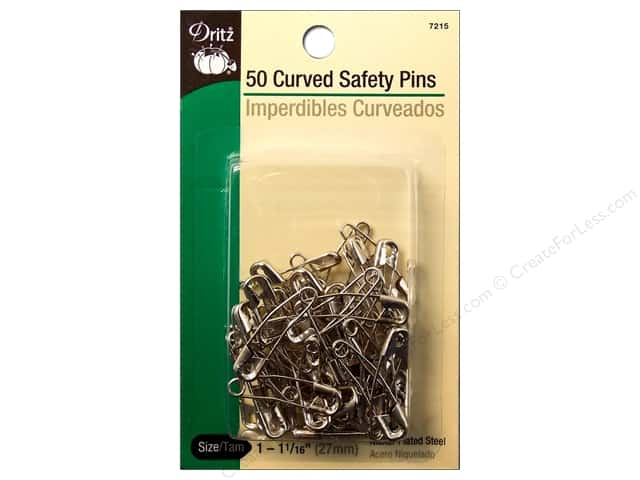 Dritz Safety Pins Curved Size 1 Nickel 50pc